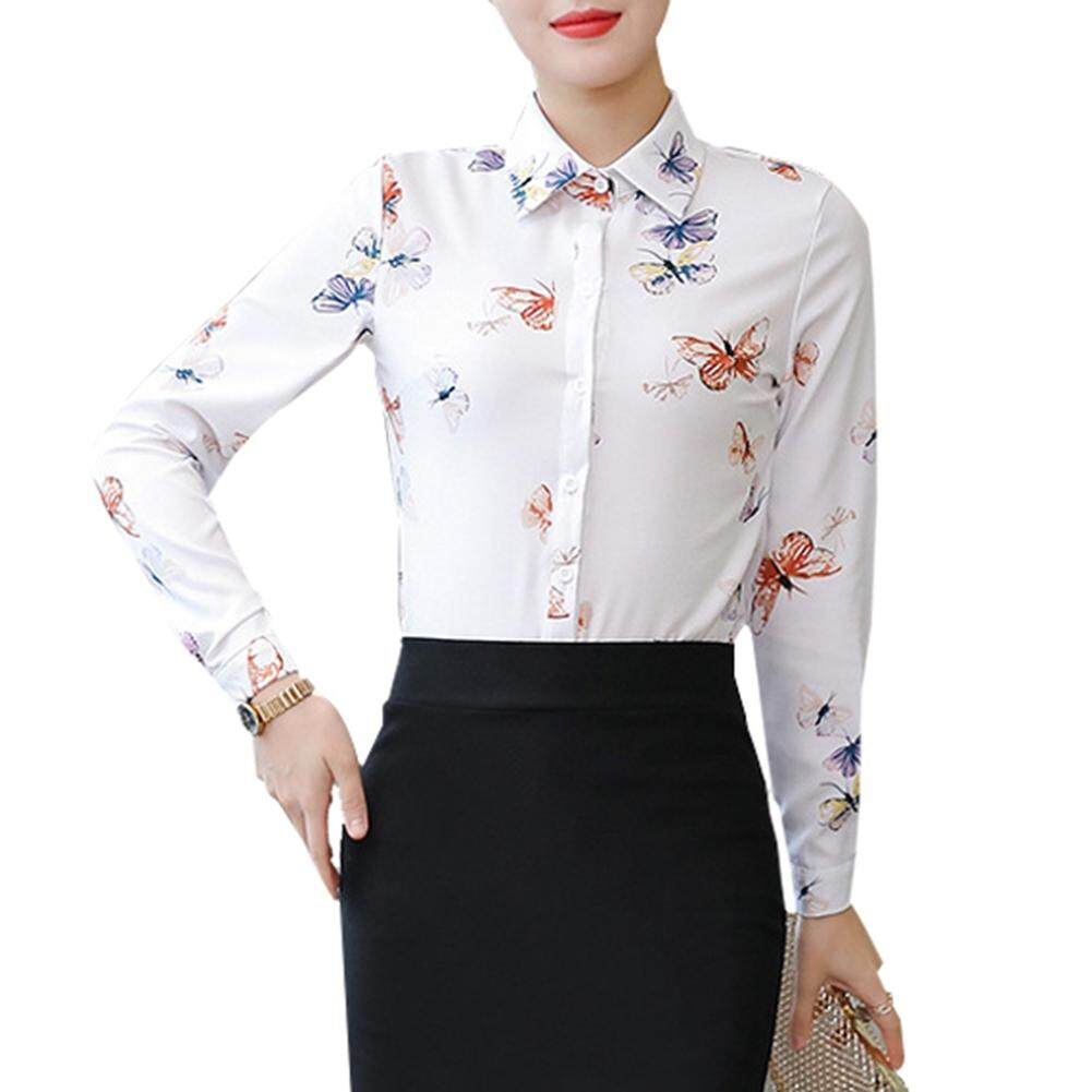 12e11a1d Fashion Women Long Sleeve Elegant Stripe Floral Formal Turn-down Neck Stand  Collar Blouse
