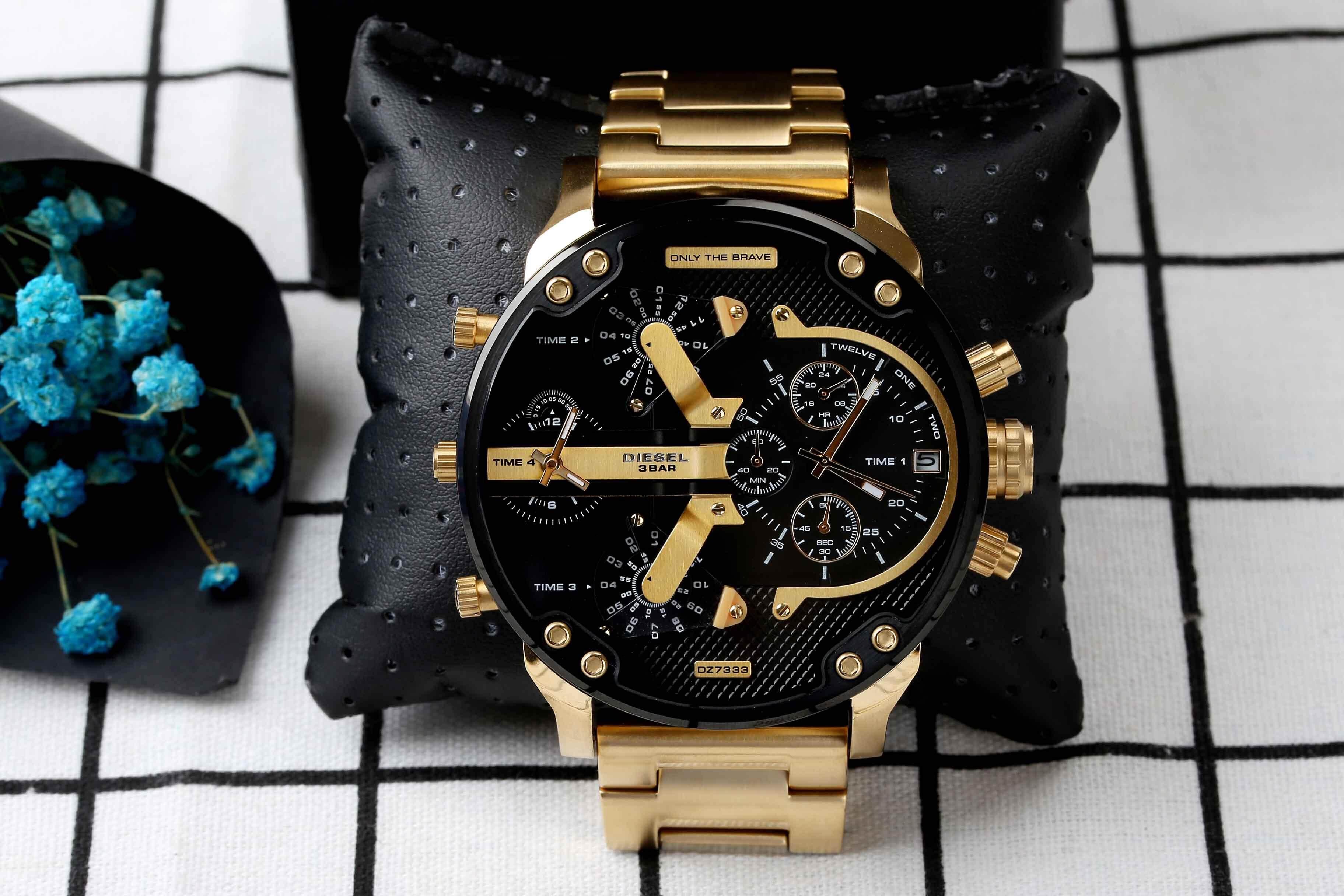 ยี่ห้อไหนดี  ฉะเชิงเทรา Genuine Products Waterproof Diesel_Military Series. Three-Eye Timing Fashion casual watch Mineral Toughened Glass Mirror .Japanese Quartz Core. Resin Strap .