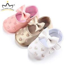 I Love Daddy&Mummy Giày Cho Bé Dễ Thương Nơ Lớn Thêu Yêu Da PU Mềm Sơ Sinh Căn Hộ Cho Bé Bé Gái 0-12 Tháng