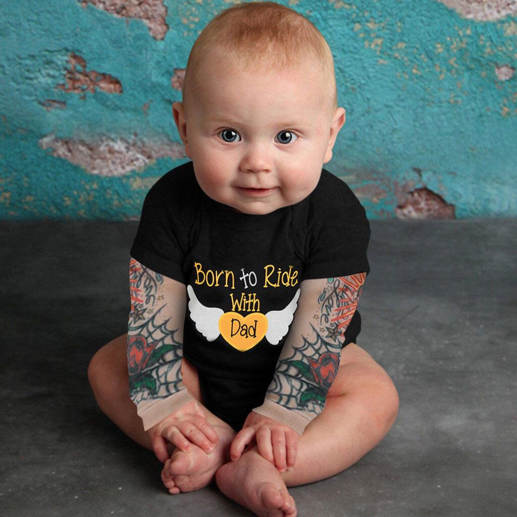 ⭐Trẻ Sơ Sinh Bé Trai Hình Xăm In Dài Tay Chắp Vá Romper: Mua bán trực tuyến  Bộ quần áo bé trai với giá rẻ