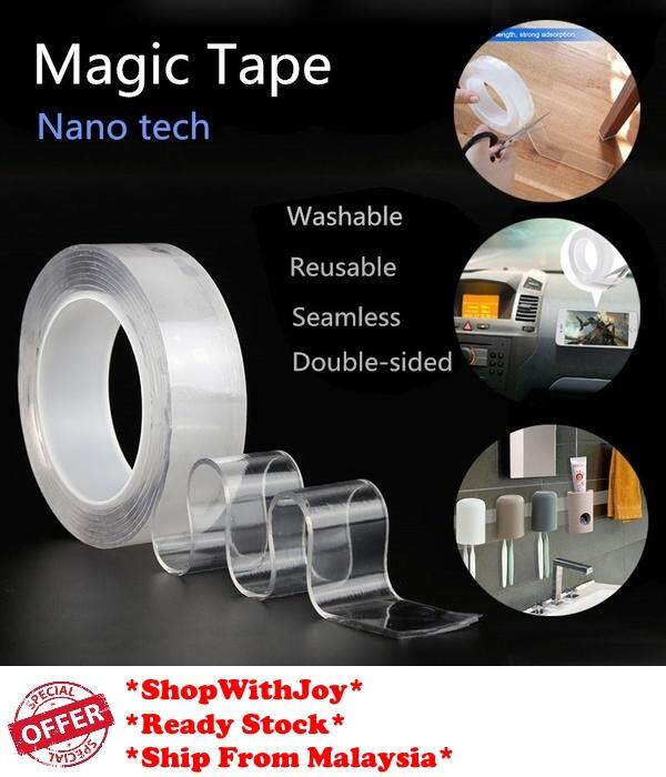 【Msia Stock】Tiktok Nano Magic Seamless Tape Anti-slip Fixed Adhesive Reusable Magic Tapes 纳米无痕魔力胶带