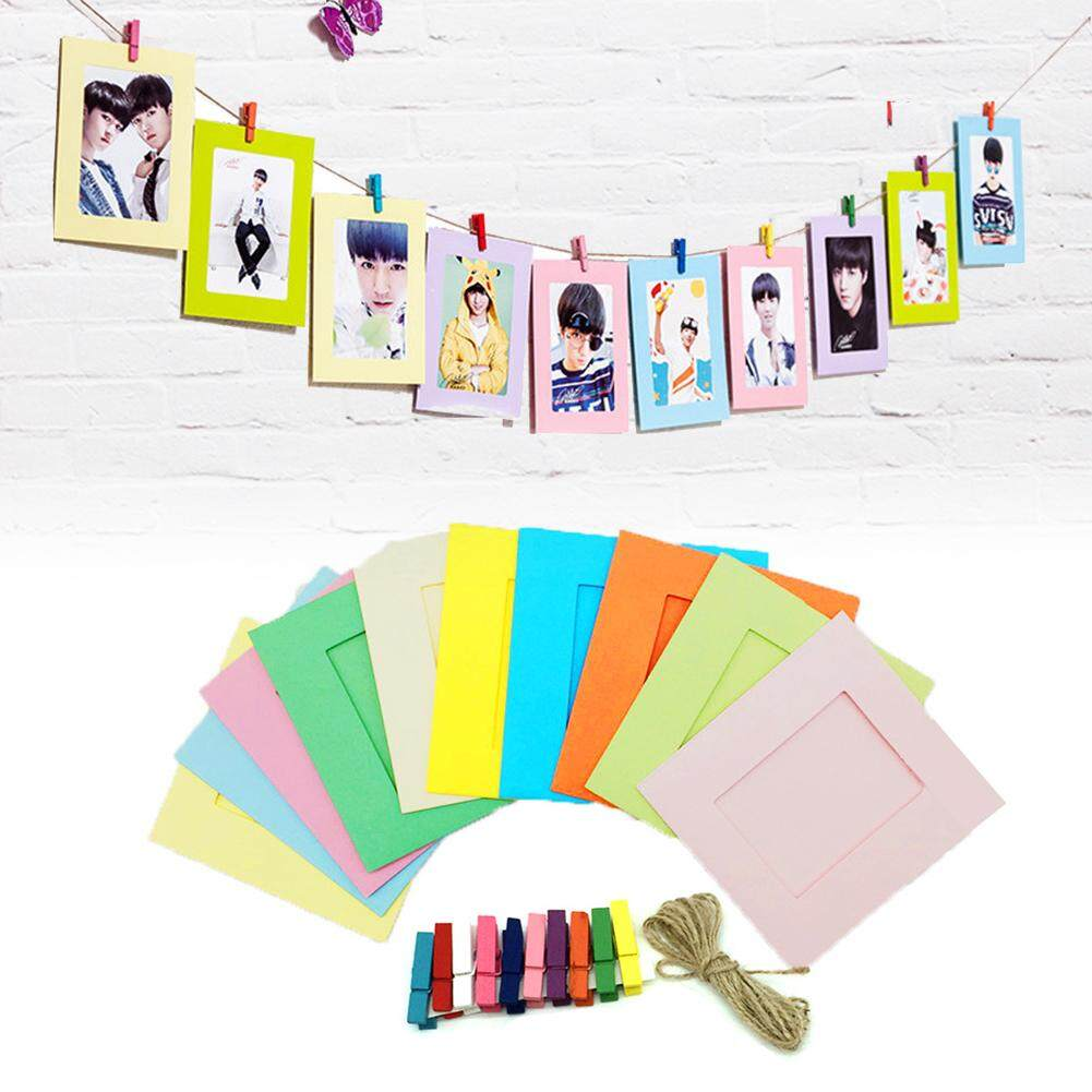 Mã Khuyến Mại tại Lazada cho Pre-Sale 10 Pcs DIY Kraft Paper Photo Frame 3 Inch Hanging Wall Photos Picture Frame Kraft Paper With Clips And Rope For Family Memory