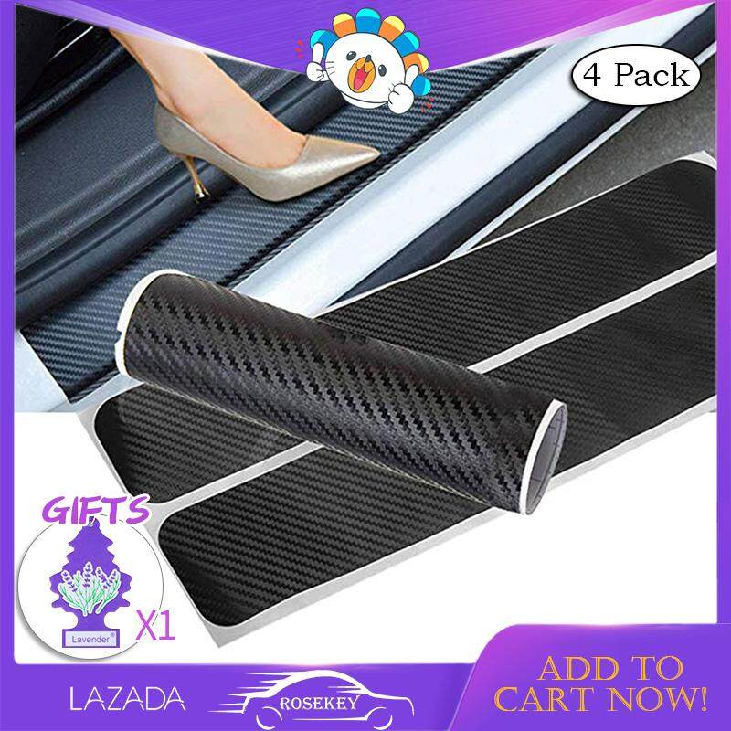 Rosekey 4 Pack Car Door Sill Protector Big Autoparts 3d Carbon Fiber Welcome Pedals Sill Guards Anti-Kick Scratch Door Kick Guard Threshold Sticker For Auto Doors Black Cb010 By Rosekey Car Franchise Store.