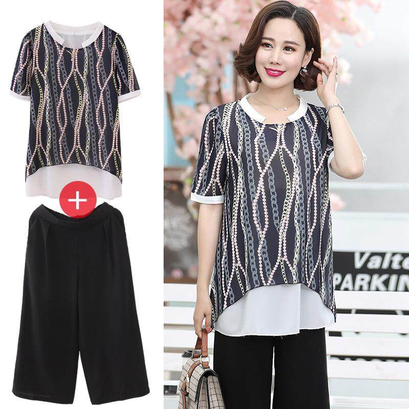 47b734156d Plus Size Big Size Woman Top Shirt Strip Shirt. RM39.00. Selangor. Mother  Summer Two-Piece 40-50 Years Old Middle-Aged Short-Sleeved