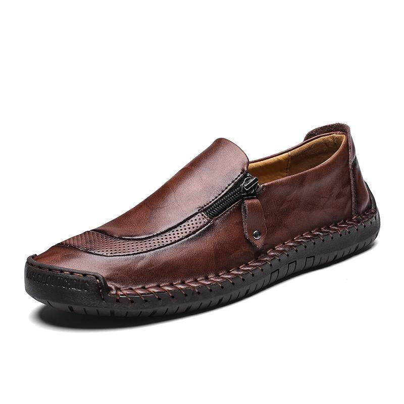 5f769013446 Large size 38~48 handmade leather casual shoes peas men s shoes Korean  version of the