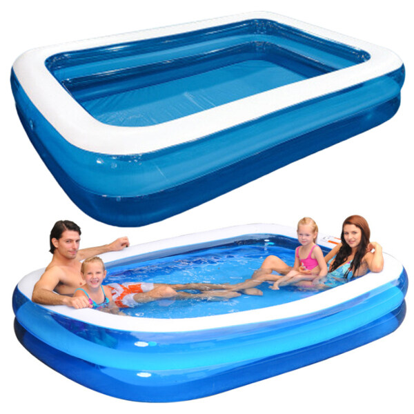 Believe Inflatable Swimming Pool 2 Rings Rectangular Family Kids Size Thick Swimming Paddling Pool Safe PVC