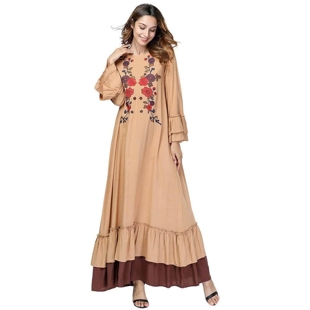 2c0b3c3a2e7a Womens Muslim Abaya Maxi Dress Flowers Islamic Muslim Dress Loose Modest  Dress Abaya Islamic Long Dress