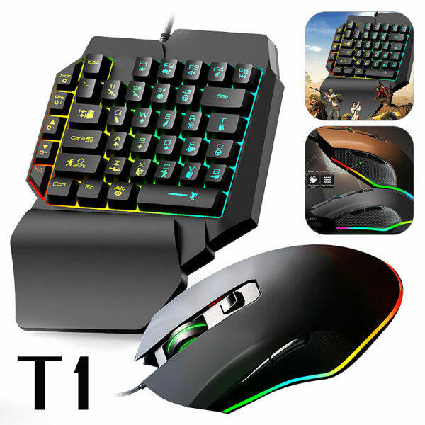 T1 ONE HAND Gaming USB Keyboard and Mouse Set Anti-slip Wheel For PC PS4 Xbox One 360 Gaming PUBG Malaysia