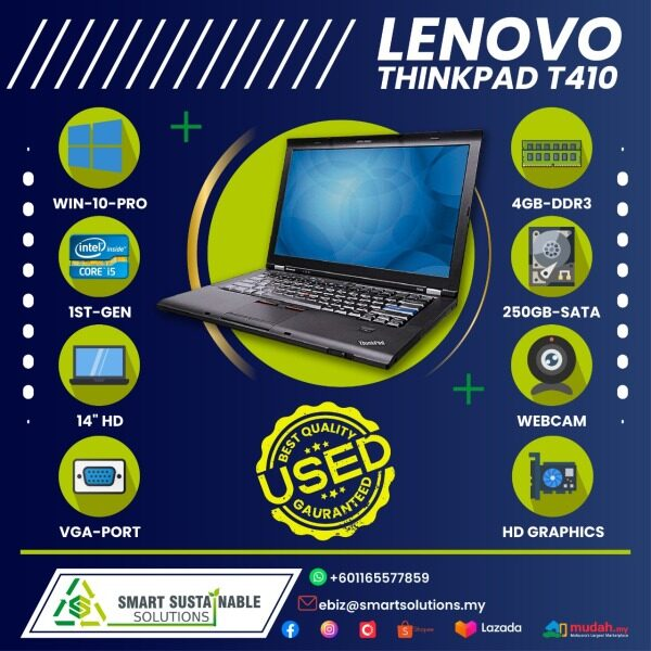 Laptop Lenovo Thinkpad T410 [i5-1st gen] [4GB RAM] [250 HDD] - used laptop / secondhand laptop Malaysia