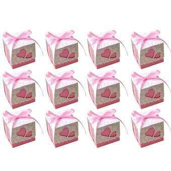 50 ชิ้น DIY ลูกกวาดน่ารักคุ๊กกี้ชอคโกแลตกล่องใส่ของขวัญพร้อมริบบิ้นตกแต่งสำหรับงานแต่งงานวันเกิดวันหยุด PARTY Favor Supplies