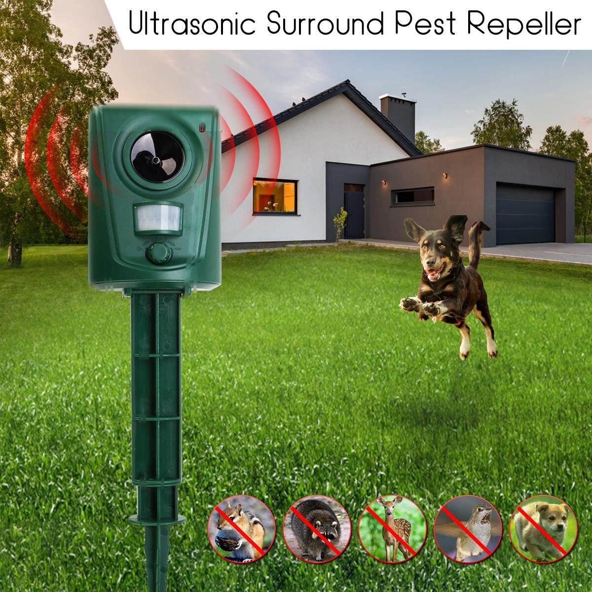 【Free Shipping + Flash Deal 】Ultrasonic PIR Outdoor Solar Animal Bird Cat Dog Fox Repeller Repellent Scarer