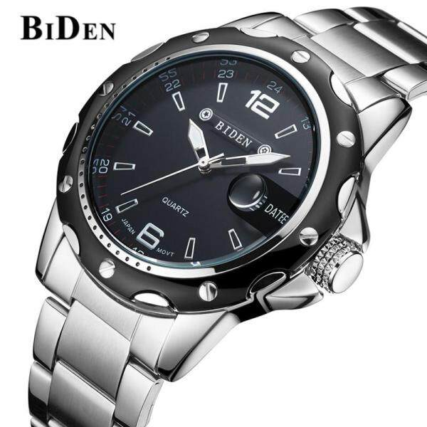BIDEN Luxury Fashion Mens Watches Top brand Stainless Steel Wristband Quartz Clock Watch Men Business Casual Sports Waterproof Chronograph Unique Date Display Men Watch Malaysia
