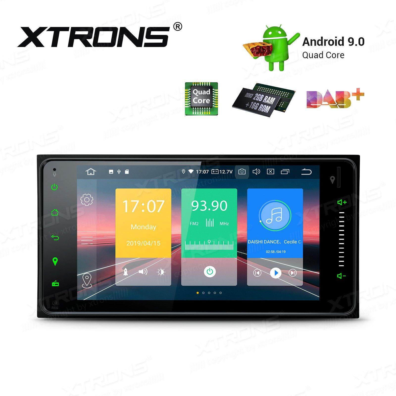 XTRONS Android 9.0 Car Stereo Double DIN GPS Navigation with 7 Inch Touch Screen In Dash Head Unit Universal Support BT WIFI Car Auto Play DVR TPMS OBD02