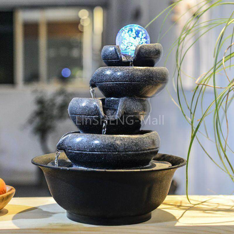 LSM Water Fountain Indoor Tabletop 5Layers Prosperity All Around Gift Decoration Display