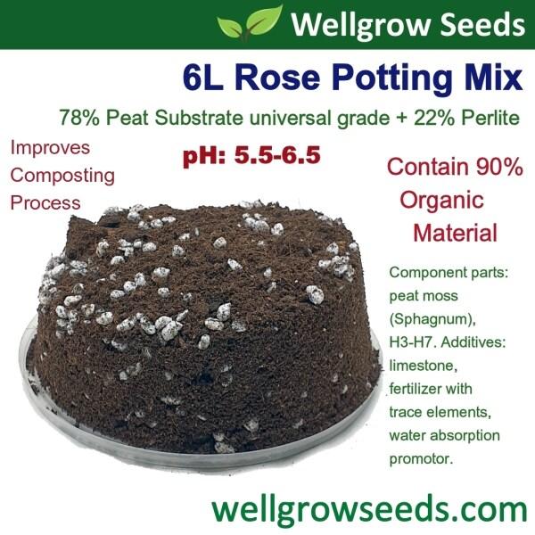 6L Rose Potting Mix 有机玫瑰花专用土 (78% peat medium + 22% Perlite) Peat Substrate Universal Grade Tanah Bunga Ros