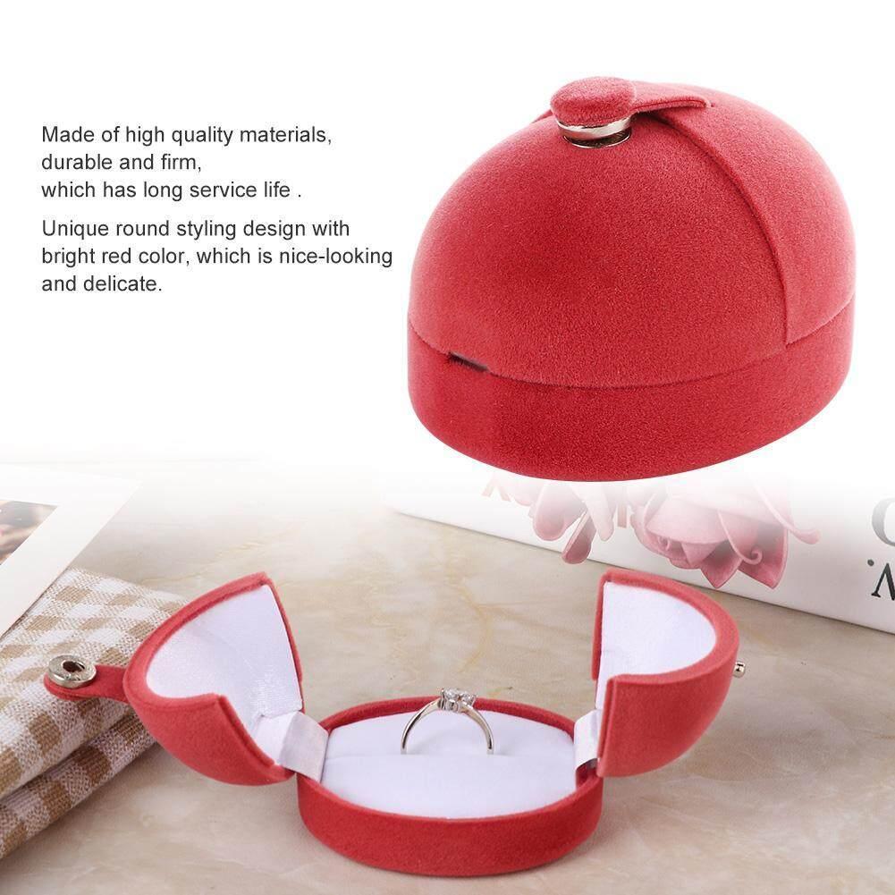 Warna Merah Perhiasan Flanel Dos Kotak Penyimpanan Pernikahan Cincin Anting Kalung Tampilan Organizer