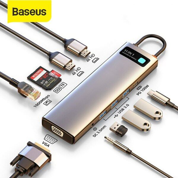 Baseus USB C Hub to HDMI Compatible VGA USB 3.0 Adapter 9/11 in 1 USB Type C Hub Dock for MacBook Pro Air PD RJ45 SD Card Reader