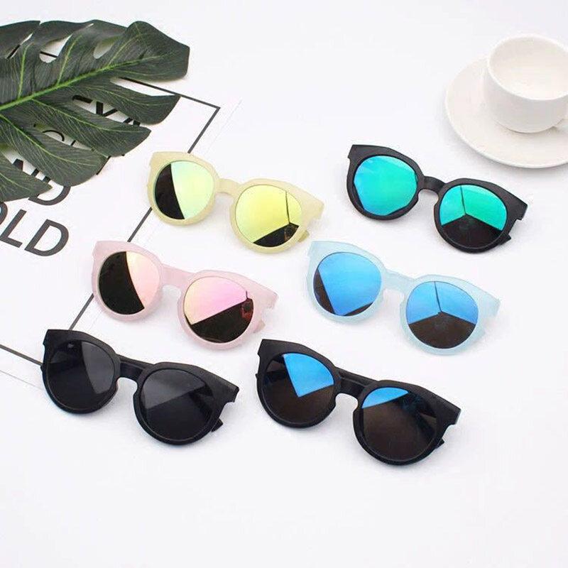 แฟชั่นย้อนยุครอบเด็กแว่นกันแดดที่มีสีสันกระจกสะท้อนแสงเด็กอาทิตย์แว่นตาป้องกันรังสียูวีเฉดสีแว่นตา.