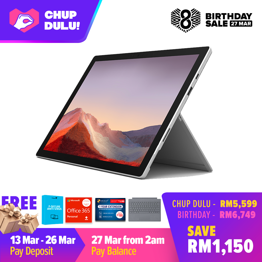 [CHUP DULU] Microsoft Surface Pro 7 Core i5/8G RAM - 256GB Platinum - PUV-00012 + Surface Pro Type Cover LT Charcoal + Shieldcare 1 Year Extended Warranty + F-Secure Endpoint Protection + Office 365 Personal (ESD) Malaysia