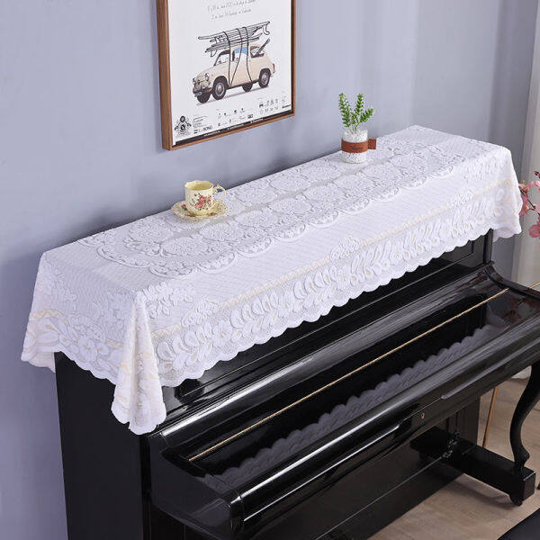 Lace piano cover half cover contemporary and contracted and pure and fresh American electronic piano cover dust cover white cover towel cloth art Malaysia