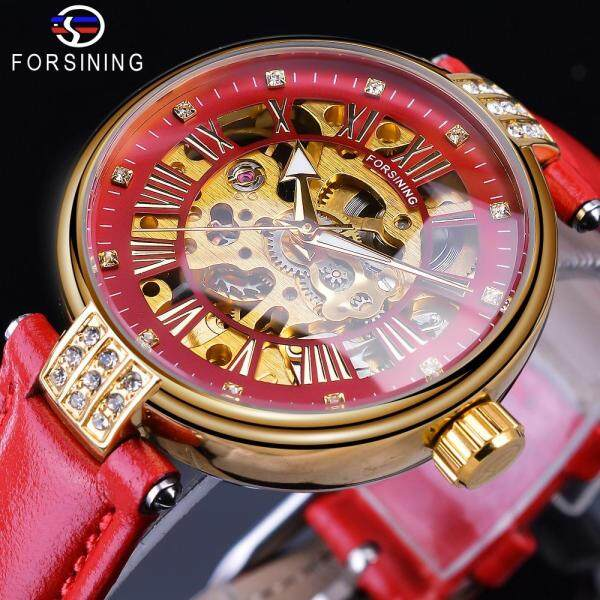 Forsining 2019 Golden Skeleton Diamond Design Red Genuine Leather Band Waterproof Lady Mechanical Watches Malaysia