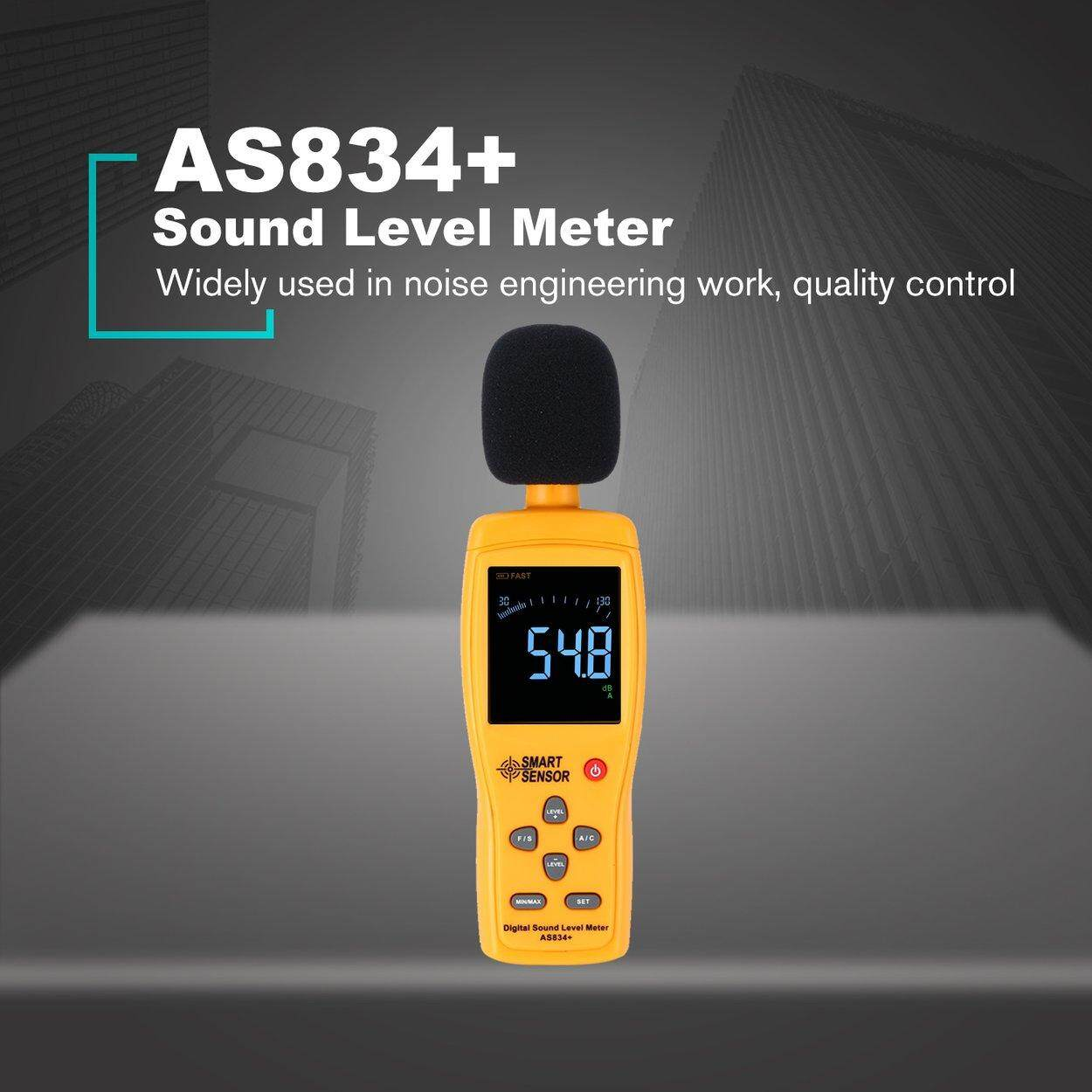 Best Deal SMART SENSOR AS834+ Sound Level Meter 30~130dB Noise Decibel Monitor
