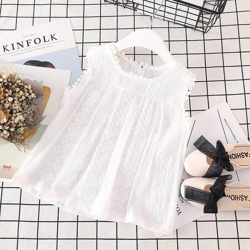 Baby Girl Floral Sleeveless Cotton Tops Blouse Tassel Design Summer Tee Shirts