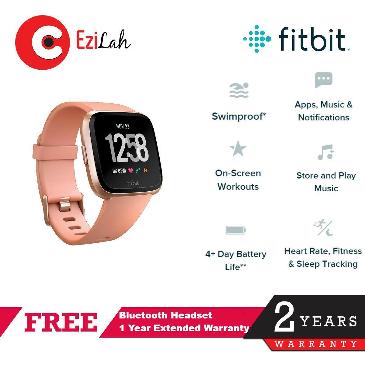Fitbit Versa Watch Heart Rate + Activity Tracker - 2 sizes in box -  Black/Peach/Grey/Lavender/Charcoal Smart Watch
