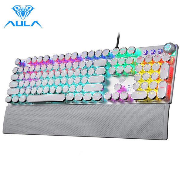 AULA F2088 Retro Mechanical Keyboard Blue Red Switch 104 Keys Anti-ghosting Wired Backlit Keyboard Gaming for PC Gamer English Version Singapore