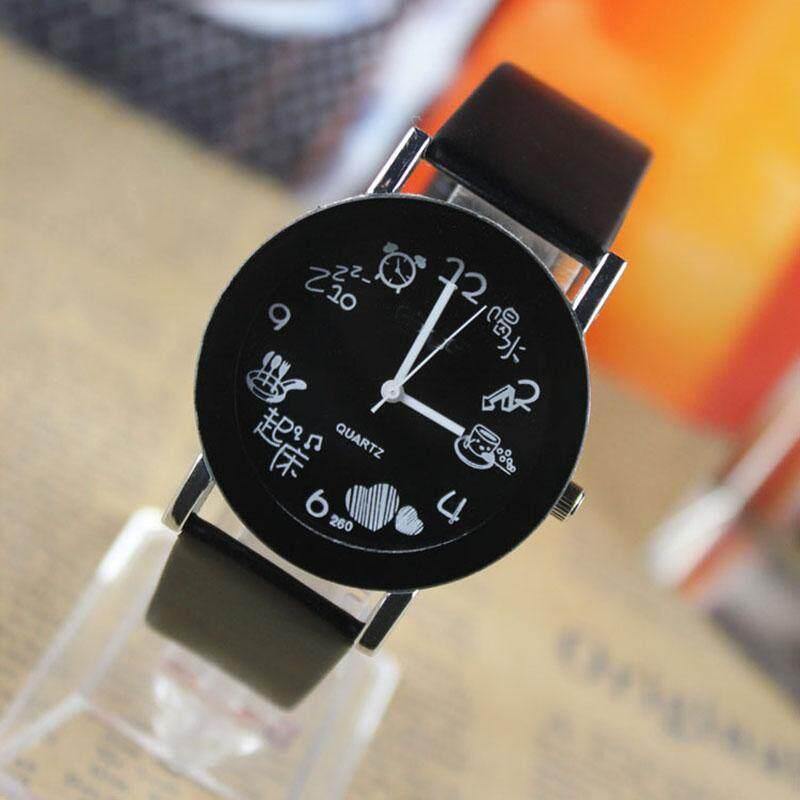 Classic PU Wrist Band Metal Quartz Watch Women Men Lovers Casual Male Femme Watch Clock Relogio Malaysia