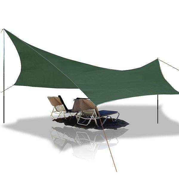 L code 420D Oxford cloth multi-function waterproof mat canopy +6 aluminum nail +6 3m buckle rope 275*275cm olive