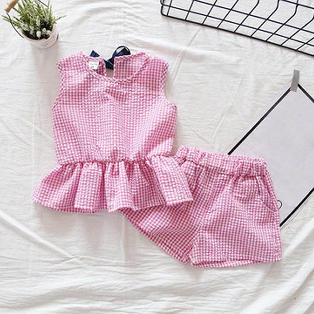 Toddler Kids Baby Girls Outfits Clothes Plaid Sleeveless Vest T-Shirt+Shorts Set