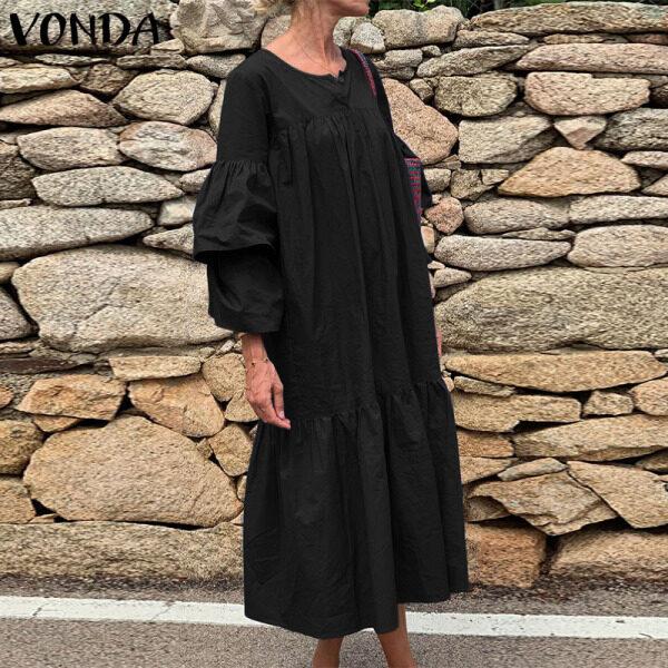 Áo Sơ Mi VONDA Dài Tay Cho Nữ, Đầm Đơn Giản Ngoại Cỡ