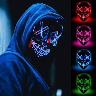 Halloween LED Mặt Nạ Đảng Sáng Lên Mặt Nạ Phát Sáng Trong Tối Halloween Trang Trí Ma Mặt Nạ Lễ Hội Trang Phục Hóa Trang Cung Cấp thumbnail