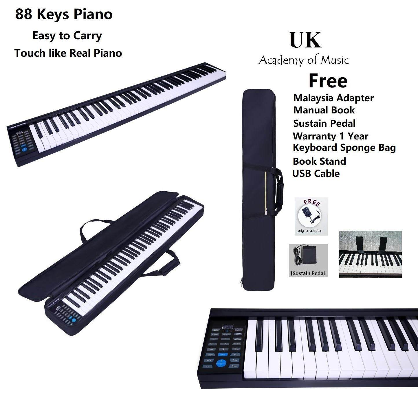 [Rechargeable] Portable 88 Keys Traveler Electronic Piano MIDI Keyboard  with Book Stand