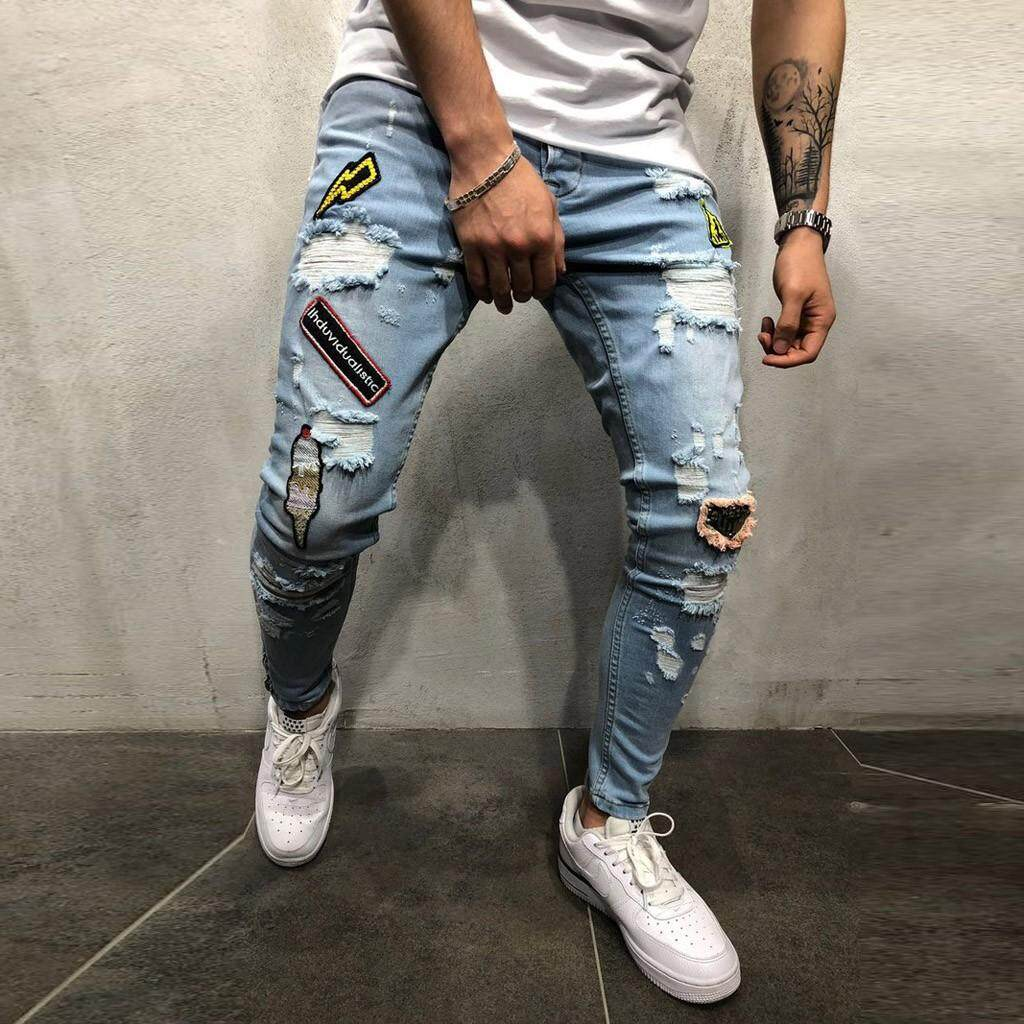 Mens Autumn Denim Cotton Straight Hole Pocket Trousers Distressed Jeans Pants By Sunshine Country.