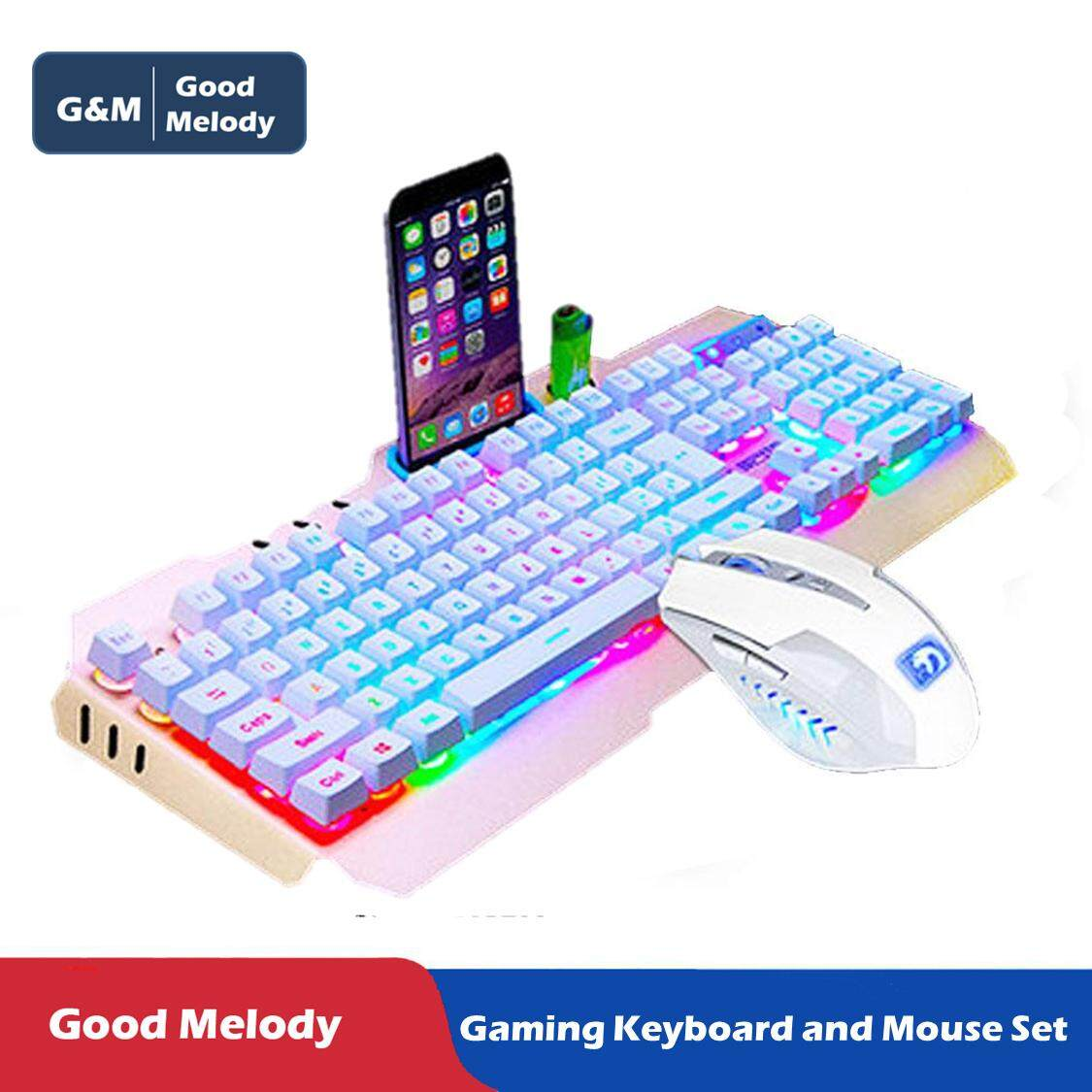 Gm Good Melodywired Backlit Gaming Keyboard And Mouse Combo Mechanical Feeling Led Computer Set For Office Work Game