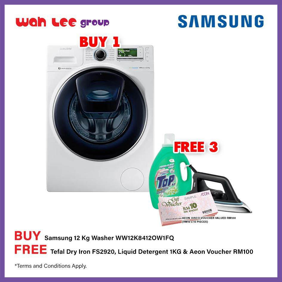 SAMSUNG Front Load Washer with AddWash, 12 kg (WW12K8412OW/FQ)