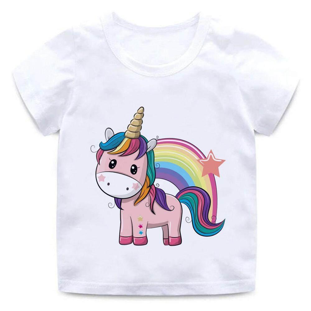 d6ddfab342b Unicorn Rainbow Cartoon Animal Star 2-14yrs Tshiet for kids t shirt Boy  Girls Cartoon Pattern T-shirt Children Summer Short Sleeves Modal Tee Tops  ...