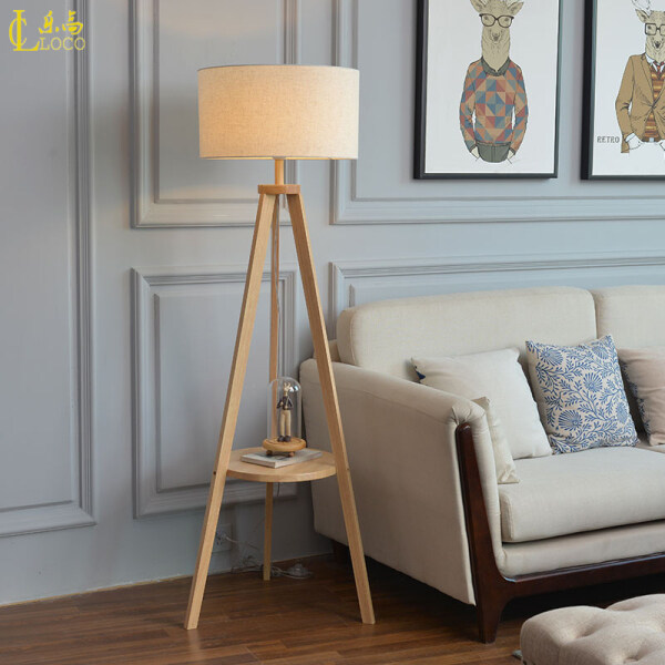 LOCO LIGHT European Style Floor Lamps High-grade Solid Wood Living Room Standard Lamps Triangle Support Creative Vertical Table Lamp H.155CM