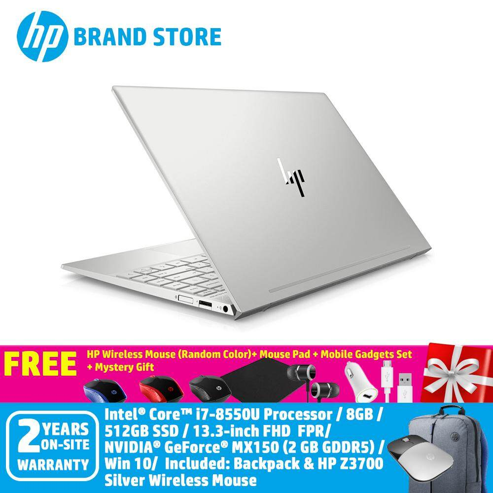 [11.11 Mega Offer] HP ENVY 13-ah0042TX Notebook 4RW15PA Natural Silver /13 NT FHD/i7-8550U/8GB/512GB SSD/MX150 2GB/Win10 + Free HP Wireless Mouse+ Mouse Pad + HP Folding Shopping Bag + Mobile Gadgets Set (Random Color) (Worth RM100) Malaysia