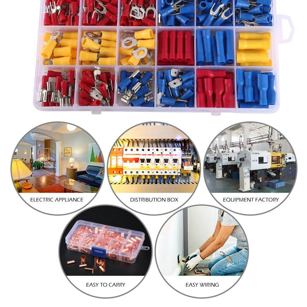 373Pcs Cold-press Insulated Terminal Block Socket Set Manual Tool Insulated Wire Terminal Crimp Connector Utility Set