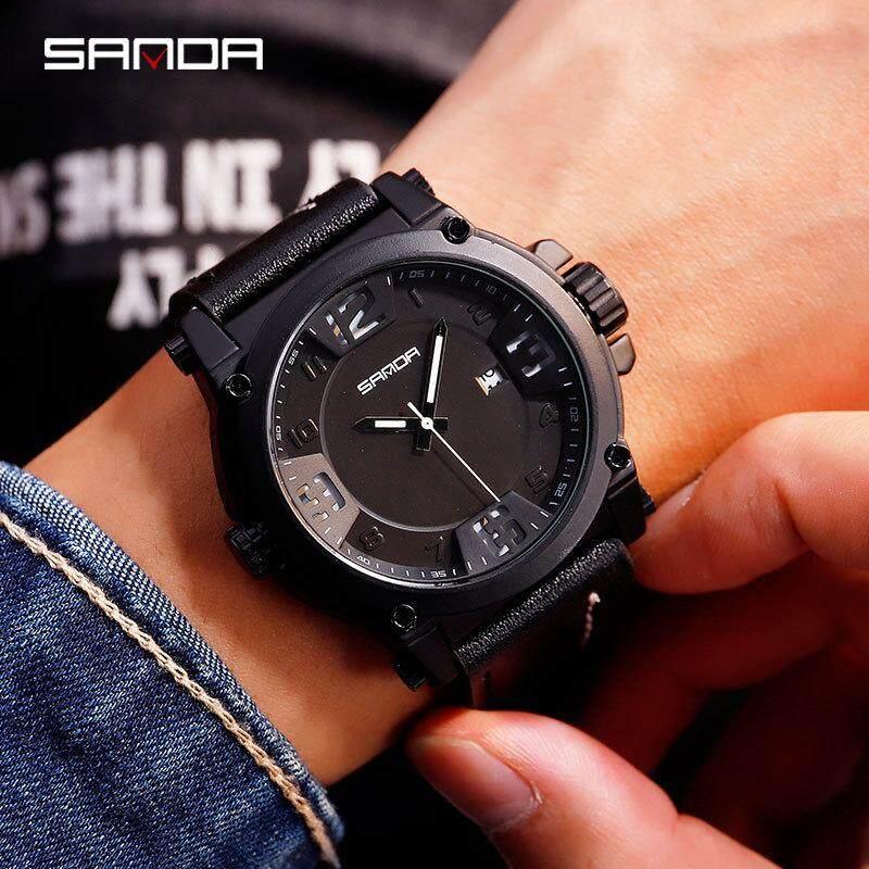 Đồng hồ kim đeo tay thạch anh có hiển thị lịch có khả năng chống nước kiểu dáng sang trọng mang phong cách quân đội dành cho nam - INTL