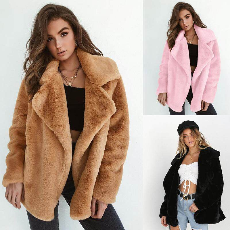 3d388e5526 Fashion Women Fleece Faux Fur Jacket Coat Long Sleeve Open Front Turn Down  Collar Autumn Winter