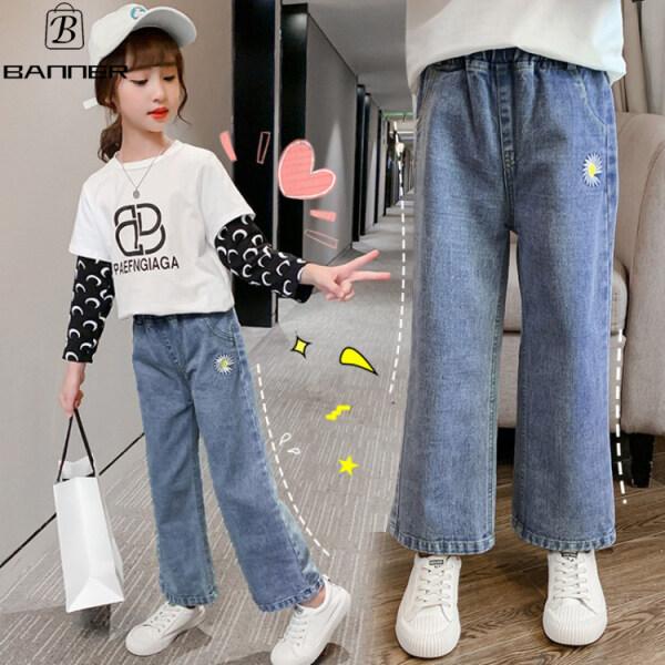 Giá bán Banner Thời Trang Cô Gái Jeans Quần Áo Bé Gái Quần Dài Quần Ống Rộng Khuyến Mãi Giải Phóng Mặt Bằng Quần Áo Trẻ Em Lớn Quần Áo Trẻ Em Lớn Hơn