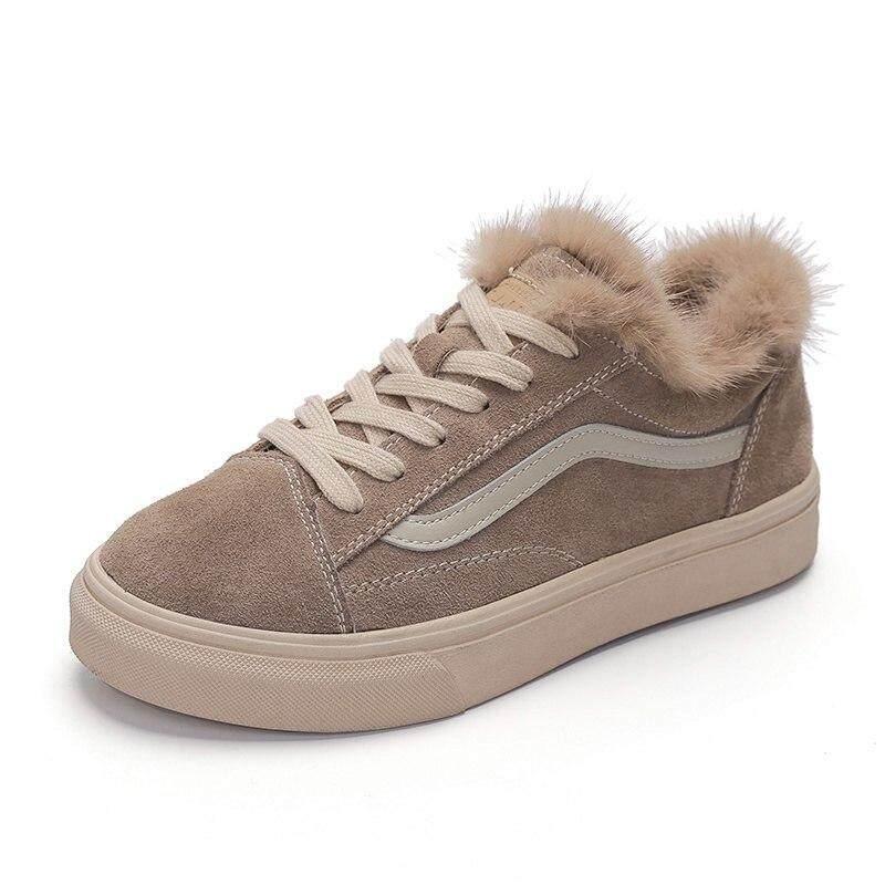 74df495ec1ef Fashion Leather Fur Shoes Women s Flat Bottom Plus Velvet Shoes 2018 Winter  New Korean Version Of