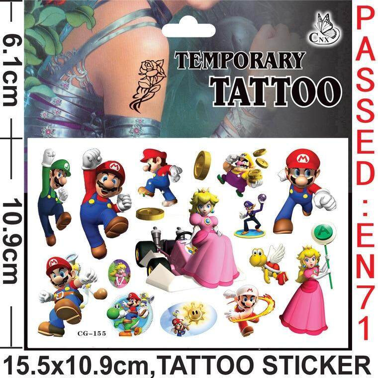 4PCS/lot temporary tattoo sticker of Mario, stickers for children party present, kids birthday present, party favor