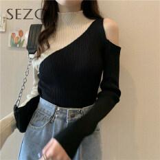Áo len dệt kim màu sắc giản dị thời trang Hàn Quốc Sezo