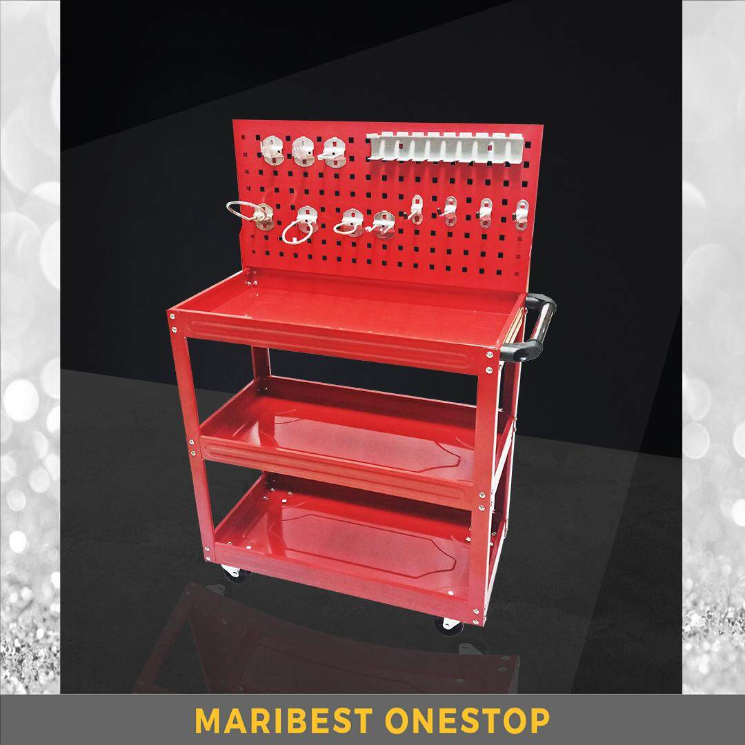 BS-1 3 Layers Service Cart Metal Steel Utility Tool Service Trolley Shelf Storage with Hanging Plate