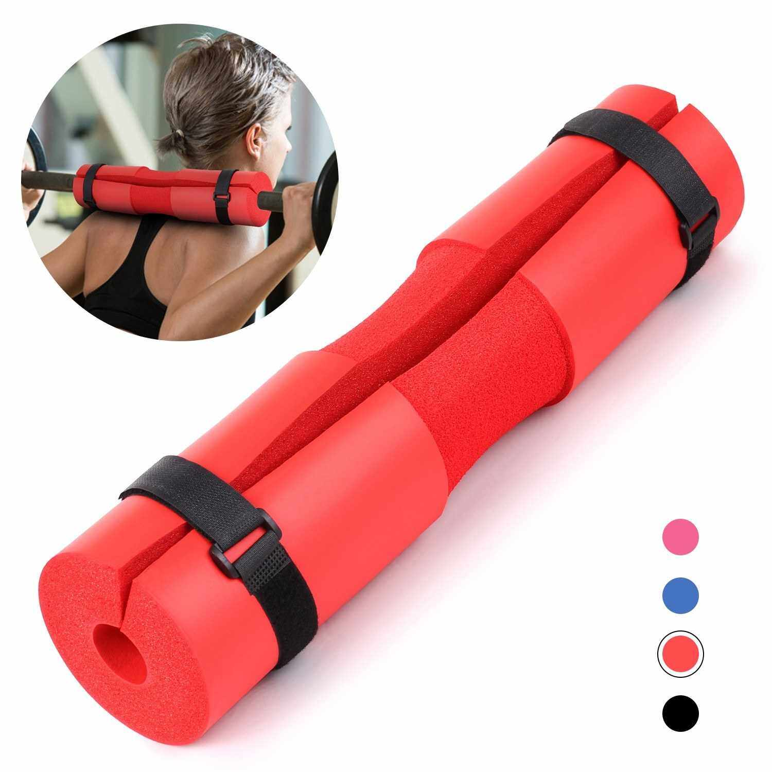 Barbell Squat Pad Neck Shoulder Protective Pad Support with Fixing Straps for Squats Lunges Hip Thrusts Weight Lifting Bar Pad (Red)